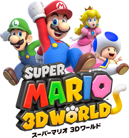 The four main playable characters with the Japanese logo