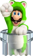 Cat Luigi in a clear pipe