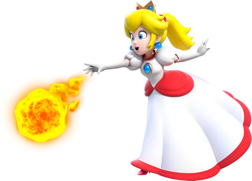 Fire Princess Peach Throwing Flame