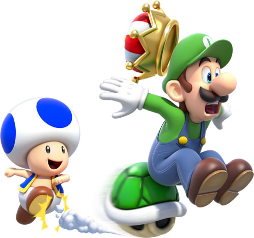 Toad and Luigi competing for a Crown