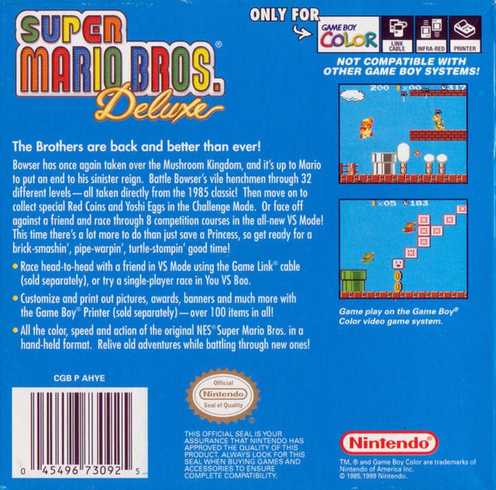 Game boy color super mario bros deluxe - Box Art Covers For The Powered Up Gameboy Colour Version Of The Original Super Mario Bros This Section Includes North American And European Box Art