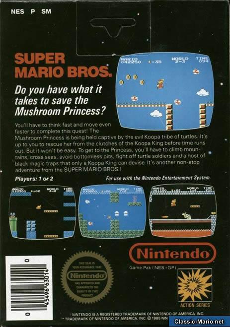 Super Mario Bros Nes Box Art