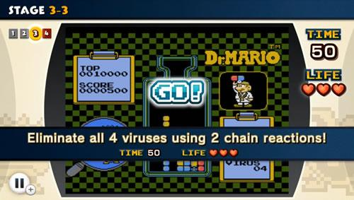 A screenshot from NES Remix 2 Dr Mario Challenge 3