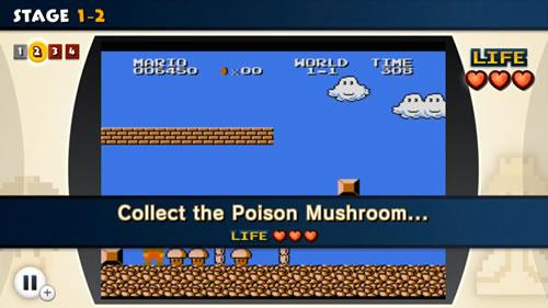 A screenshot from the first Super Mario Bros. Lost Levels challenge in NES Remix 2