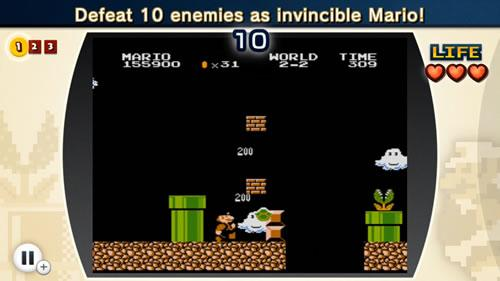 A screenshot from the 2nd Super Mario Bros. Lost Levels challenge in NES Remix 2