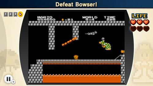 The showdown with Bowser in the final Super Mario Bros. the Lost Levels challenge of NES Remix 2