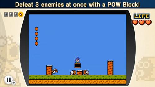Luigi smashing three enemies with one POW Block