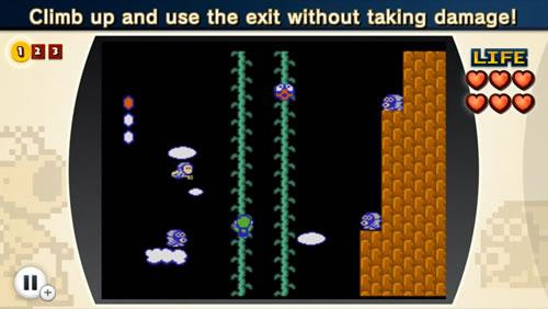 Luigi climbs a perilous beanstalk in NES Remix 2