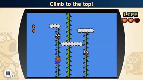 Mario climbing a beanstalk in NES Remix 2