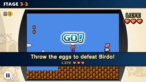 Mario throwing an egg at Birdo in NES Remix 2