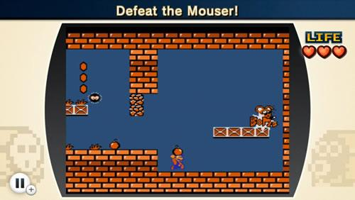 Mouser getting hit by a bomb that Mario threw back at him