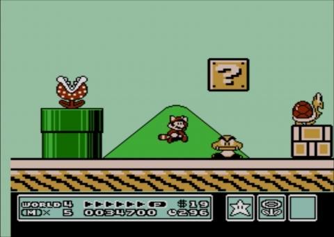 Racoon Mario taking on a giant Goomba in SMB3 on WiiU Virtual Console