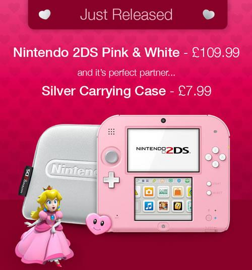 Nintendo 2DS Pink & White + Silver Carrying Case now released