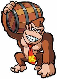 Donkey Kong holding his signature barrel!