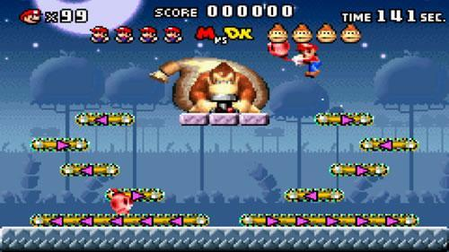 A screenshot of Mario vs. Donkey Kong.