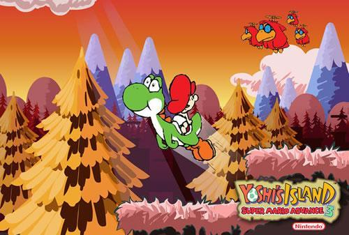 Yoshi and Baby Mario being chased by Toadies