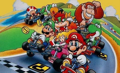 A group artwork featuring all the racers in Super Mario Kart for the SNES