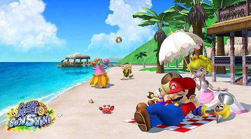 Mario and Peach relaxing on delfino islands beach