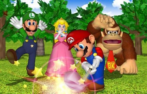 Luigi, Peach and Donkey Kong watch Mario fire off a powerful shot