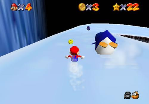 Mario races a penguin down Cool Cool mountain