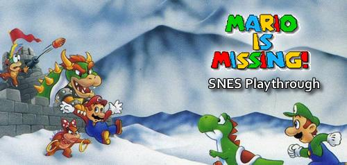 Mario is Missing on the SNES, Yoshi and Luigi running to rescue him from Bowser and the Koopa Kids