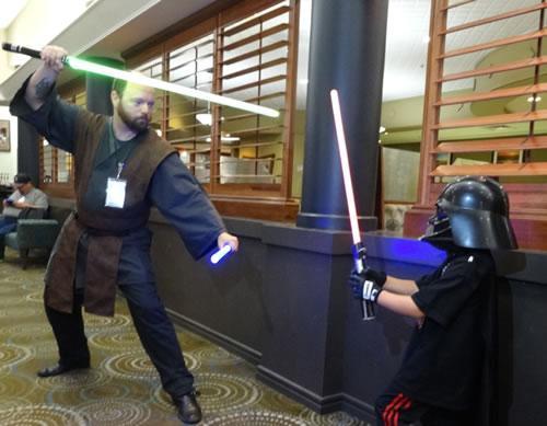 A lightsabre duel