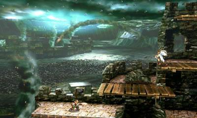 A Kid Icarus: Uprising inspired stage in Super Smash Bros 3DS