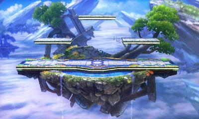 The Battlefield style stage from Super Smash Bros 3DS