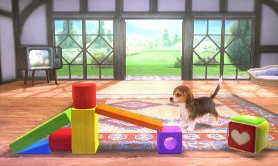 A stage in Super Smash Bros 3DS featuring a Nintendog playing in the background