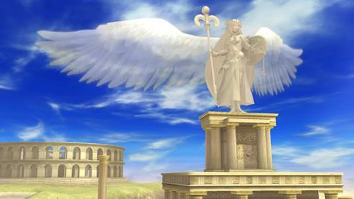 A kid Icarus styled stage in Super Smash Bros U and 3DS