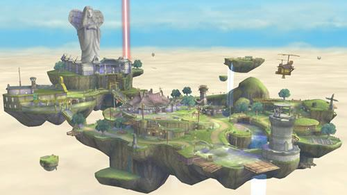 The Skyloft stage from Zelda Skyward Sword in Super Smash Bros U and 3DS