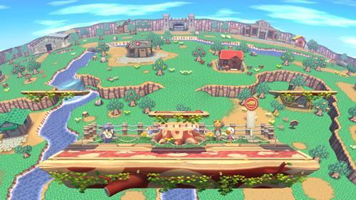 An Animal Crossing styled stage in Super Smash Bros U and 3DS