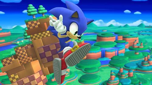 A Stage from Sonic's Lost World (Windy Hill Zone) in Super Smash Bros U and 3DS
