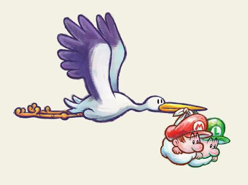 The stork carrying Baby Mario and Baby Luigi in Yoshi's New Island