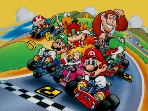 Artwork from the original Super Mario Kart on the SNES