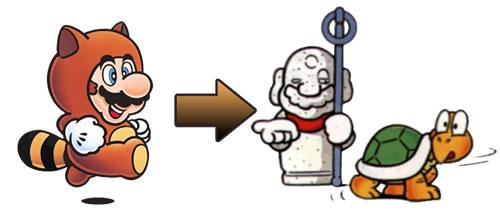 Mario using the Tanooki suit to morph into a Statue and fool a Koopa Troopa