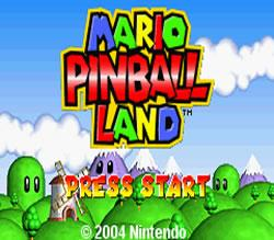 Mario Pinball Land title screen