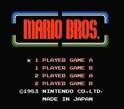 Mario Bros. NES title screen