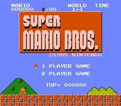Super Mario Bros. for NES, title screen