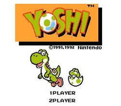 The title screen for the NES version of  Yoshi