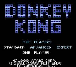 Donkey Kong Atari 7800 title screen