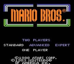 Mario Bros title screen from the Atari 7800