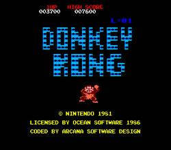 Donkey Kong Amstrad CPC title screen