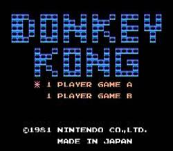 Donkey Kong e-Reader GBA version title screen