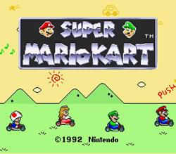 Super Mario Kart for the SNES, title screen