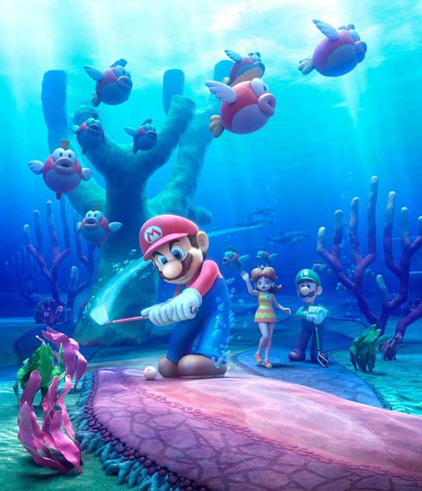 Mario Golf: World Tour - Mario takes a swing in Cheep Cheep lagoon