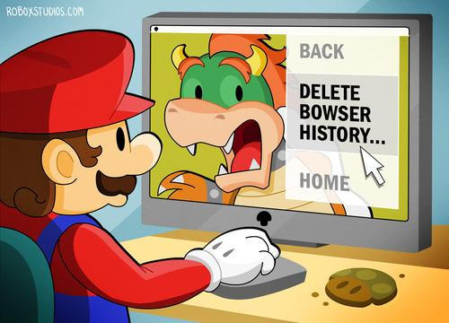 Mario deletes the Bowser history!