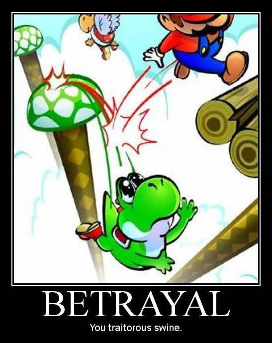 Yoshi falls to his doom, Mario remains unscathed