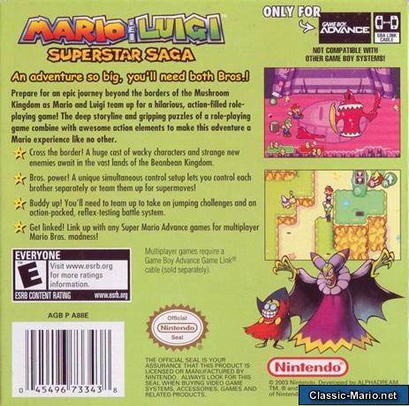 Mario Luigi Superstar Saga Game Boy Advance Box Art