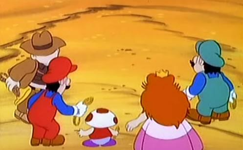 Raiders of the Lost Mushroom: As Koopa escapes through the warp pipe at the end of the episode Mario and Luigi briefly switch colours.